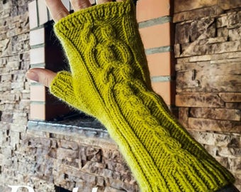 Fingerless gloves arm hand warmers pattern pdf instant download knitting instructions