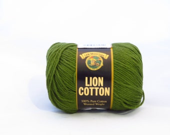 Lion Cotton Yarn, Evergreen Green Worsted Weight Cotton, Discontinued Yarn, Dish Cloth Cotton, Olive Green or Avocado