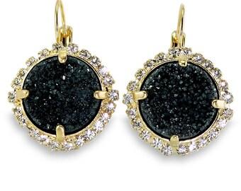 Gold Black Earrings, Black Druzy Earrings, Gemstones Gold Earrings, Pave Drop Earrings, Lever Back Dangle Earrings, Bezel Sets EarringsGift.