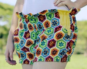 Organic Cotton Ruffle Shorts With Pockets Adult Size Au14