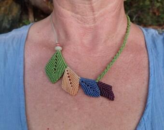 macrame leaf necklace, micro macrame leaves, natural jewelry, bib necklace, beach stone, bohemian, beach