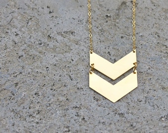 Double Gold Chevron Necklace // 16K Gold // Minimal Necklace // Layering Necklace // Geometric Necklace