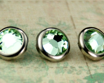10 Chrysolite Crystal Hair Snaps - Round Silver Rim Edition -- Made with Swarovski Crystal Element Rhinestones