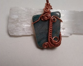 Ocean jasper flat stone with a copper wire wrapped pendant, heady wrap, water elemental, crystal healing, chakra