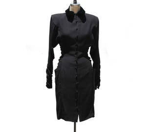 Vintage 50's Black Crepe Dress