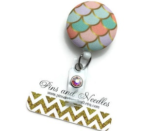Summer ID Badge Reel - ID Badge Holder - Retractable Badge Reel - Badge Reels - Mermaid ID Badge Reel - Nurse Gift - Mermaid Scales Id Badge