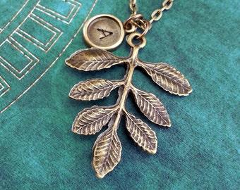 Brass Leaf Necklace, Leaf Charm, Personalized Necklace, Autumn Necklace, Autumn Jewelry, Engraved Necklace, Fall Jewelry, Leaf Jewelry