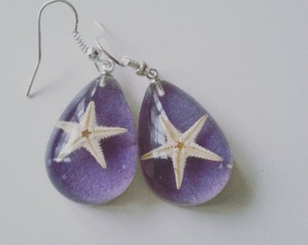 LILAC, lilac, purple, Real starfish, starfish earrings, Ocean, sea life, drop, by newellsJewels on etsy