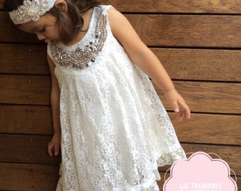 Vintage Style White Lace Flower Girl Dress. Crystal Bling Neckline Dress.