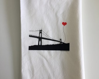 Portland Oregon St. John's Bridge tea towel - misprint
