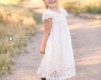 Ivory cream flower girl dress, lace flower girl dress, baby girl dress, french summer dress, girl dress, lace dress, size 12mo-12 years
