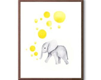 Baby Elephant, Baby Wall Art, Nursery Art, Girls Nursery Art, Yellow, Watercolor Painting, Art Print - E570W