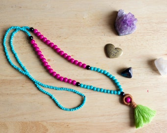 Must Have Bright Colored Tassel Necklace, Handmade Mediation Jewelry, Gift for Woman