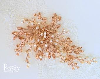 Rose Gold Hair Piece, Rose Gold Hair Accessory, Wedding Hair Vine, Pearl Hair Accessory, Bridal Rose Gold Hair Vine, Wedding Hair Accessory