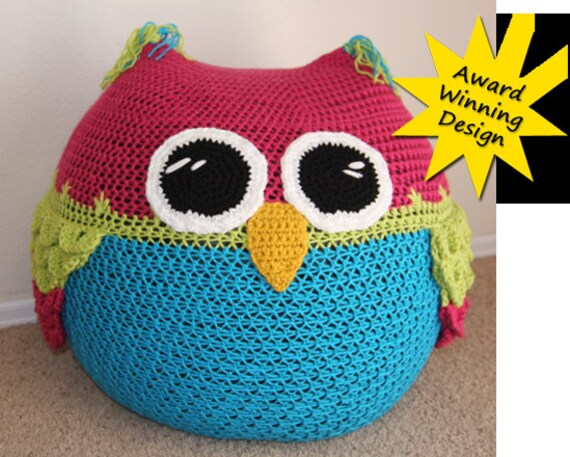Owl Set Crochet Pattern Bean Bag Chair Hats Pants Blanket