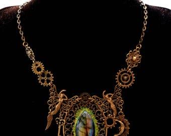 """Steampunk fairy """"Géologhia"""" Labradorite necklace"""