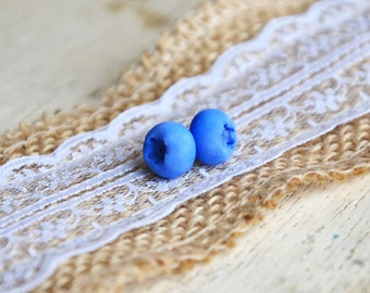 Blueberry earrings, blueberry jewelry, blueberry, earrings, studs, berry earrings, berry studs, clay jewelry, artifical berry, polymer clay