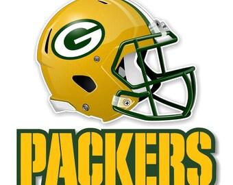 Green Bay Packers, Helmet + Packers Decal / Sticker Die cut