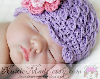Violet Girl Cloche Winter Hat, Baby Girl Crochet Purple Hat, 3-6 Months Girl Hat, Crochet Winter Girl Hat, Winter Hat with Flowers, Girl Hat