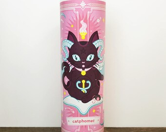 Color Catphomet Occult Baphomet // 7 Day Altar Candle, Saint Candle