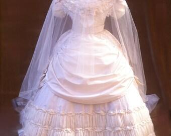 1860s wedding dress- ball gown- victorian dress