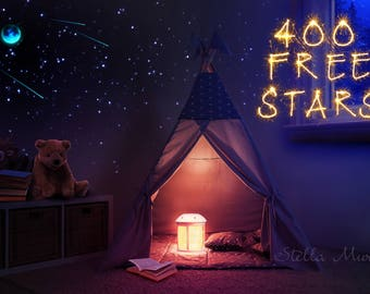 Glow in the Dark Star Ceiling | Starlight Camping | 200 - 1000 Glow Star Stickers | Moon Shooting Stars | Camping Birthday Party Essential!
