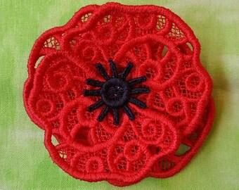 Lace Poppy Brooch