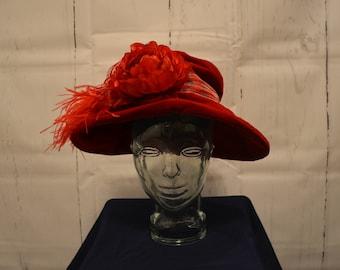 1916 Style Velvet Handmade Hat