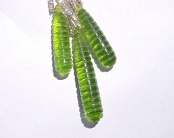 3 Pcs Trios Very Beautiful Peridot Green Quartz Hand Carved Drops Beads Size 40X7- 30X7 MM