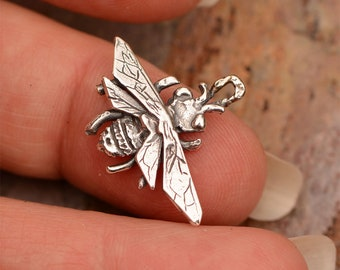 Rustic Bee Charm in Sterling Silver // CH-722