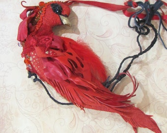 Phoenix necklace leather, Phoenix necklace, Red Phoenix necklace, Phoenix jewelry, leather necklace Phoenix, Valentine's day, Red Phoenix