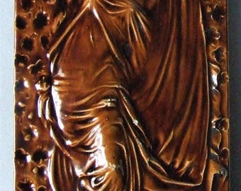 AntiqueTile by Craven Dunnill Pre Raphaelite Maiden Rising from the Fire