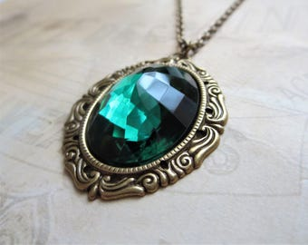 Emerald Green Necklace Pendant Large Glass Jewel Necklace Victorian Art Deco Jewelry May Birthstone Jewelry Gift