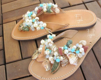 """Natural Color Greek Leather sandals with crystals and shells - Unique sandals - Women's sandals - NEW - """"Iolanthi"""""""