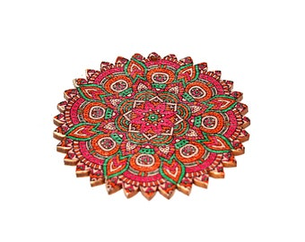 Set of 2 or 5 wooden mandala multicolor ethnic pendant fuchsia dominant green 60 mm - Ref: 2600