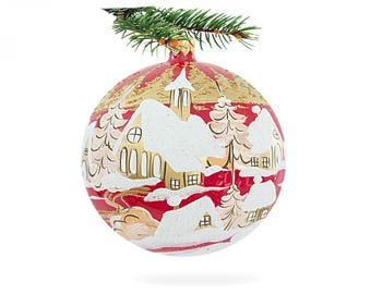 Polish decor ball-handmade ball decor-bauble ornament-glass xmas ornament-red and white bauble-first christmas ball-red white poland ball-66