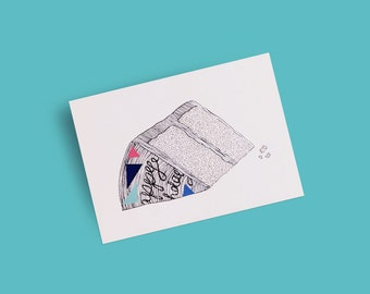 Birthday Postcards: Piece of Cake with Bright Colour Vinyl Stickers and Hand-drawn Silver Ink — Line Illustration | A6 (4x6)