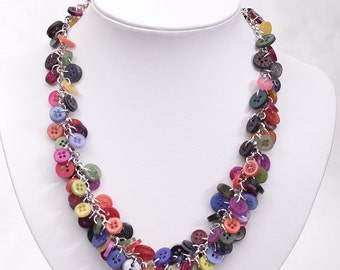 Button Necklace - Bright Multi Colour Charm Necklace with Tiny Buttons