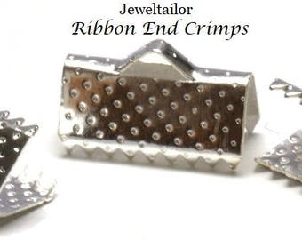 20-100 Silver Plated Large Ribbon End Clamps 13mm x 7mm Ideal For Kumihimo & Fabric ~ Jewellery Making Essentials
