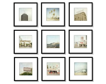 SALE, Los Angeles Print Set, Hollywood, California Photography, Malibu, Beach, Gallery Wall, Set of 9, Square, 5x5, 8x8, 5x7, 8x10, 12x12