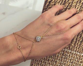Matte Chain Bracelet, Silver Druzy Drop Hand Chain