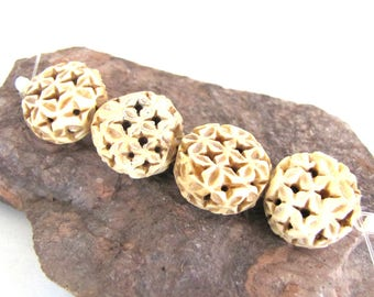 Carved Antiqued Bone Beads Flat rounds with Star Shapes Faux Scrimshaw Ivory Color - set of 4
