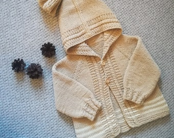 Hand Knitted Baby Hoodie Cardigan/Jacket. Hand Knit Sweater.Toddler's Cardigan. Girl's/ Boys Cardigan. Merino /cashmere or cotton Jacket.
