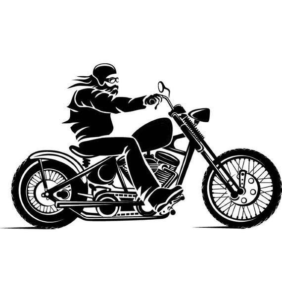 Motorcycle 3 Chopper Outlaw Bike Biker Repair Shop Logo .SVG