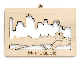 Minneapolies Skyline & Cherry Ornament - from Timber Green Woods. Sustainable Harvest Wood. Made in the USA!