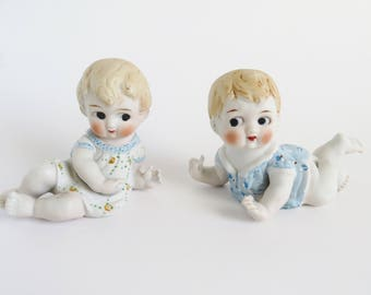 Piano Babies,  Vintage Piano Baby Figurine, Bisque Porcelain Crawling Piano Babies, Collectible Piano Babies, Made in Japan, Nursery Decor