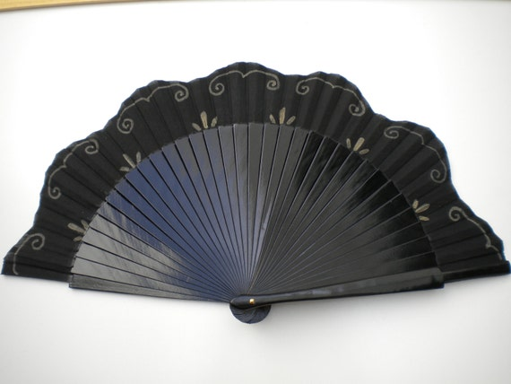 Black and Gold Scalloped Hand Fan SIZE OPTIONS Wood Fabric Wooden Flamenco Fan  by Kate Dengra Spain
