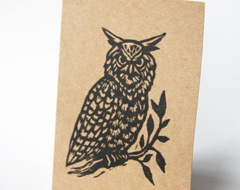 Note Card Set - Owl Blank Greeting Cards - Hand Printed Greeting Cards - Stationery - Just Because Cards - Animal Cards - 5 Card Set - Paper