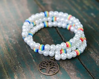 Rainbow and Pearl Bracelet