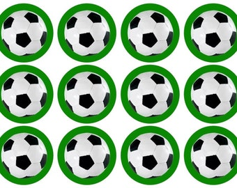 15 Football (Soccer) Cupcake Toppers, Edible